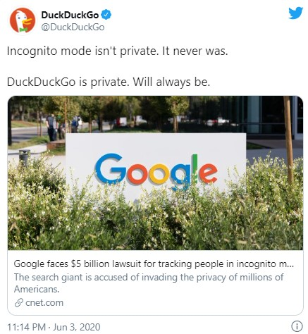 DuckDuckGo Tweet against Google