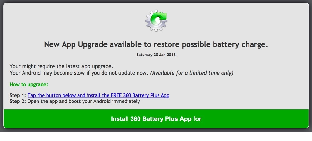 Fake Battery Recharge on Malicious Domain Website