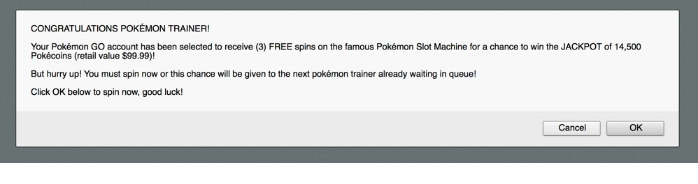 Malicious Domain website with Pokemon Trainer Fake Prizes